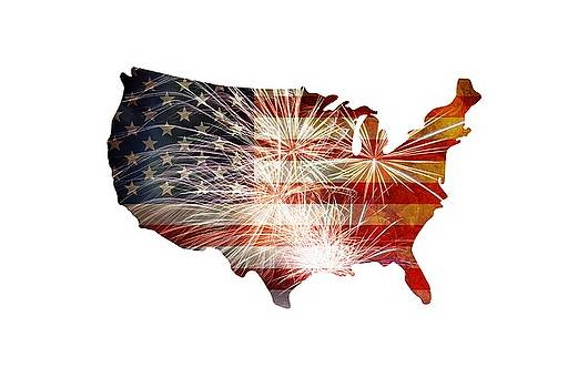 USA Flag with Fireworks Grunge Background by Jit Lim