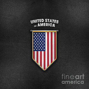 USA Pennant with high quality leather look by Carsten Reisinger