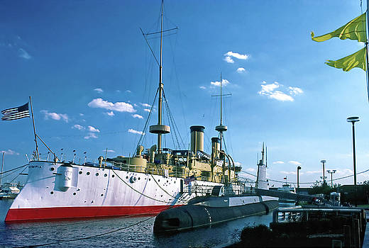 USS Olympia and Becuna by Sally Weigand