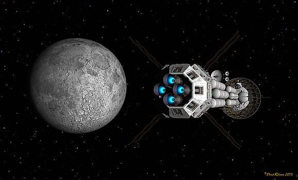 USS Savannah passing earth's moon by David Robinson