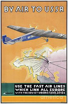 USSR Vintage Air Travel Poster Restored by Carsten Reisinger