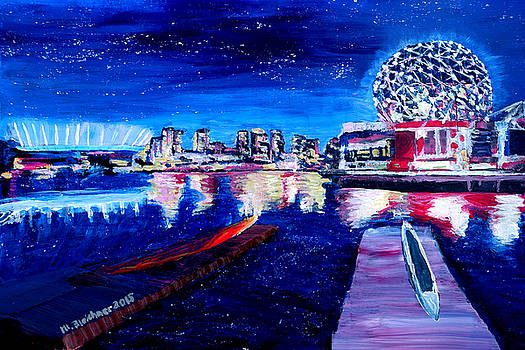 Vancouver skyline at starry night by M Bleichner