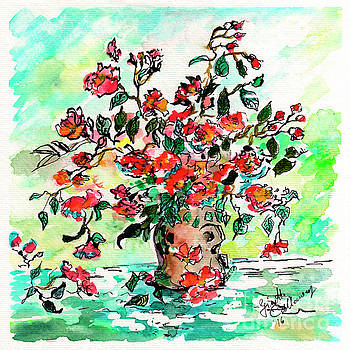 Ginette Callaway - Vase with Red Roses Watercolor