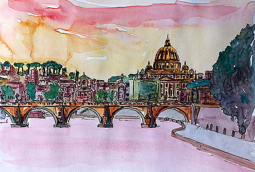 Vatican Rome Italy Sunset On River Tiber With St Peter I by M Bleichner