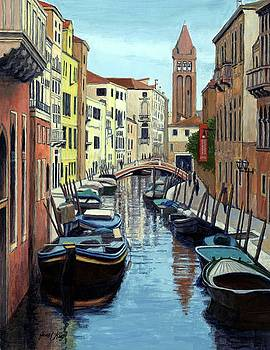 Venice Canal and Old Bell Tower by Janet King