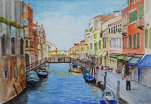 Venice Wooden Bridge Aquarelle by Dai Wynn