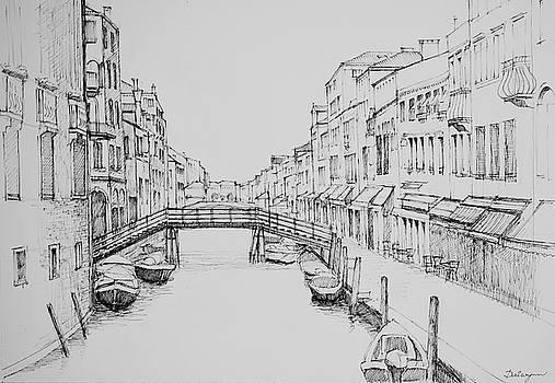 Venice Wooden Bridge Sketch by Dai Wynn