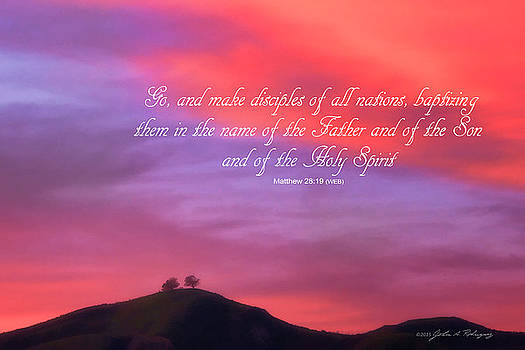Ventura CA Two Trees at Sunset with Bible Verse by John A Rodriguez