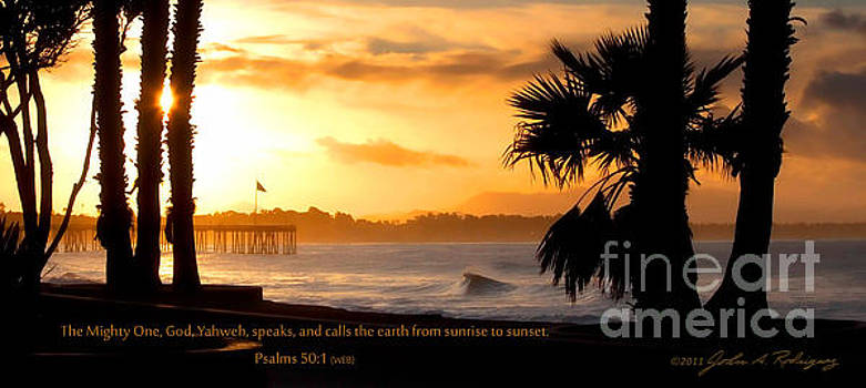 Ventura California Sunrise With Bible Verse by John A Rodriguez
