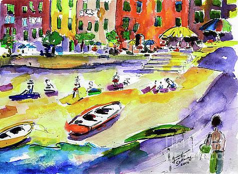 Ginette Callaway - Vernazza Beach Stroll Watercolor Cinque Terre
