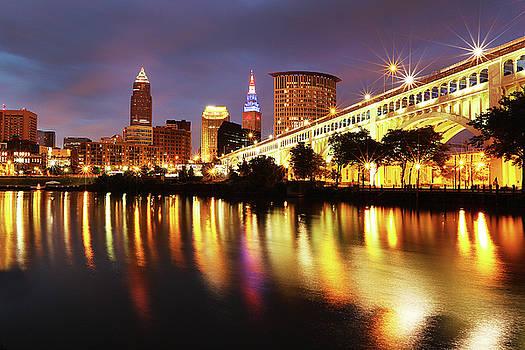 Vet's Bridge Lights by David Yunker
