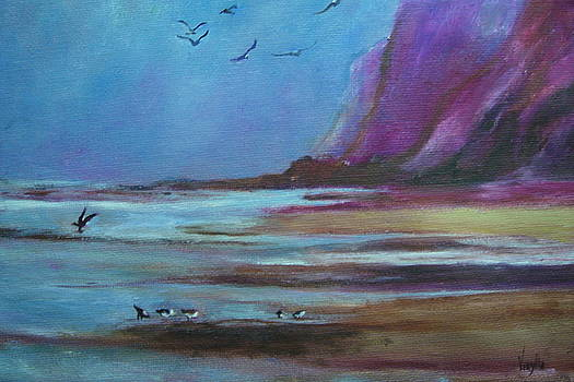 Vibrant landscape paintings  - Sea Shore Birds - Virgilla Art by Virgilla Lammons