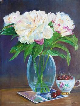 Vibrant still life paintings - Floral with Teacup and Cherries - Virgilla Art by Virgilla Lammons