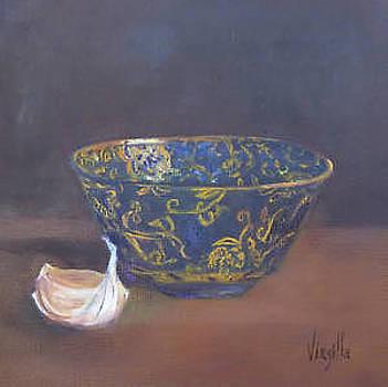 Vibrant still life paintings - Golden Bowl with Garlic by Virgilla Lammons