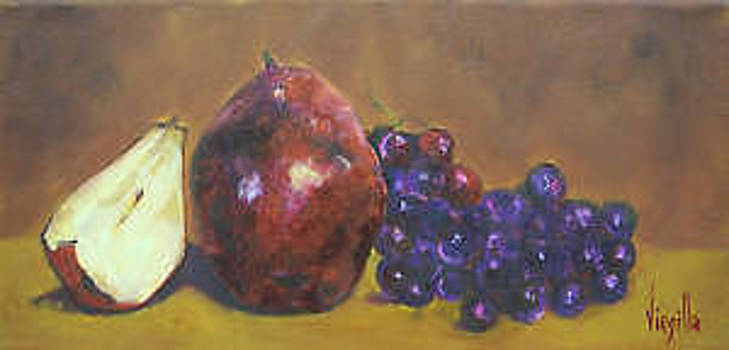 Vibrant still life paintings - Grapes with Pear and a Pear Half - Virgilla Art by Virgilla Lammons