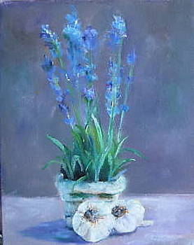 Vibrant still life paintings - Lavender with Garlic by Virgilla Lammons