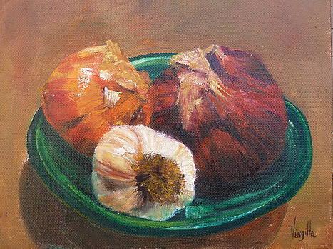 Vibrant still life paintings - Onions and Garlic - Virgilla Art by Virgilla Lammons