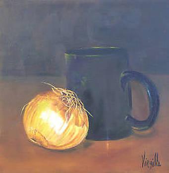 Vibrant still life paintings - Yellow Onion - Virgilla Art by Virgilla Lammons