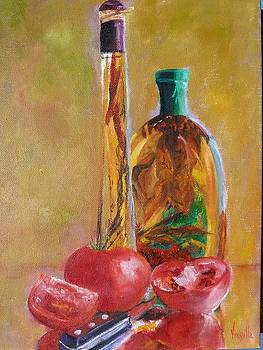 Vibrant still life Paintings Decorative Herb Bottles with Tomatoes Virgilla Art by Virgilla Lammons