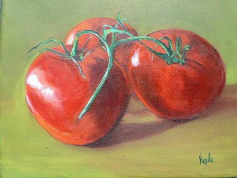 Vibrant still life paintings Three Tomatoes by Virgilla Lammons