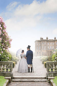 Victorian Couple In The Grounds Of A Mansion House by Lee Avison