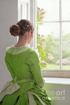 Victorian Woman In Green Dress At The Window by Lee Avison