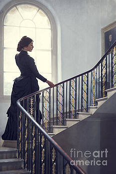 Victorian Woman On The Staircase by Lee Avison
