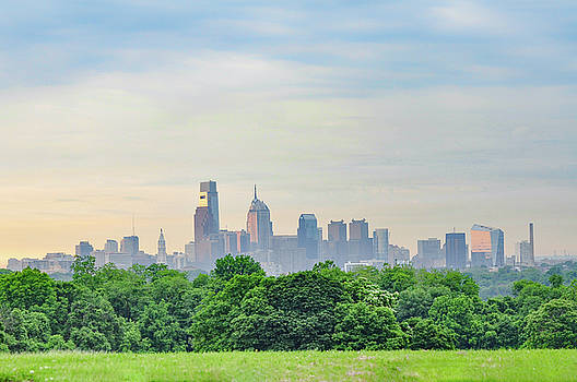 View of Philadelphia Cityscape from the West Lawn by Bill Cannon