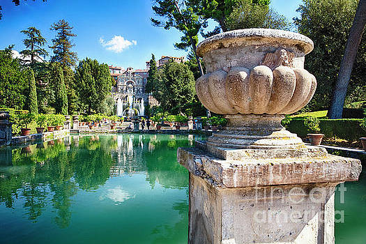 Villa Garden with a Pond and Fountain by George Oze