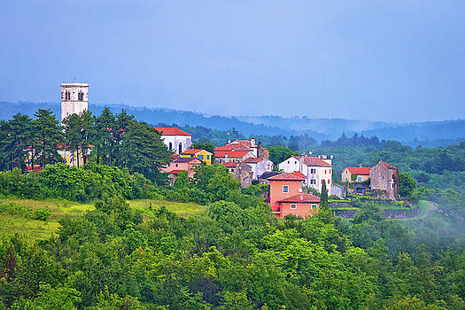 Village of Oprtalj in green hills by Dalibor Brlek