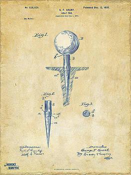 Vintage 1899 Golf Tee Patent Artwork by Nikki Marie Smith