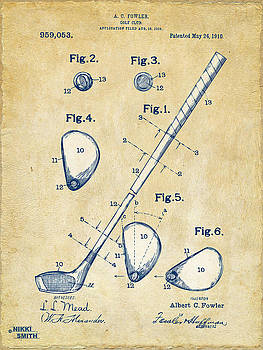 Vintage 1910 Golf Club Patent Artwork by Nikki Marie Smith
