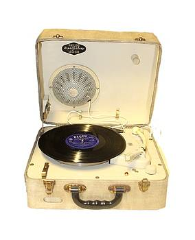 Vintage 1950s record player and vinyl record by Tom Conway