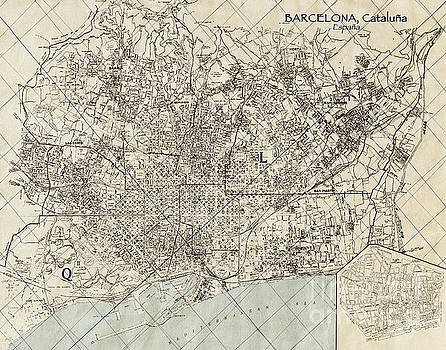 Vintage Antique Barcelona Spain City Map by ELITE IMAGE photography By Chad McDermott