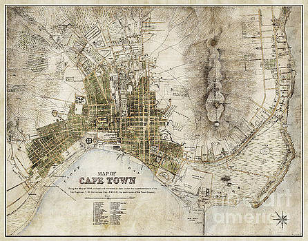 Vintage Antique Cape Town South Africa City Map by ELITE IMAGE photography By Chad McDermott