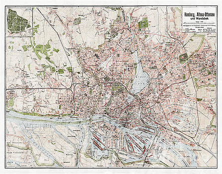 Vintage Antique Hamburg Germany City Map by ELITE IMAGE photography By Chad McDermott
