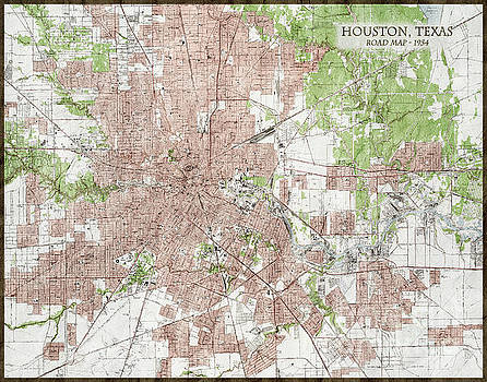 Vintage Antique Houston Texas City Map by ELITE IMAGE photography By Chad McDermott