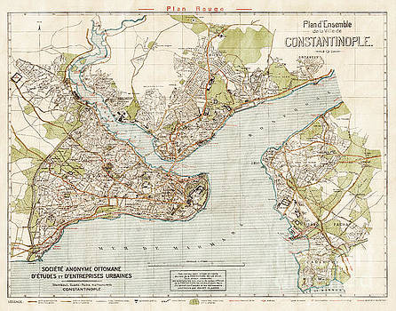 Vintage Antique Istanbul Constantinople Turkey City Map by ELITE IMAGE photography By Chad McDermott