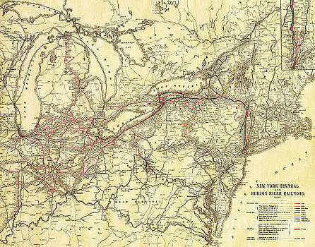 Vintage Antique Map of the New York Central and Hudson River Rai by ELITE IMAGE photography By Chad McDermott