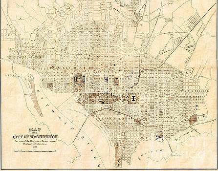 Vintage Antique Washington DC City Map by ELITE IMAGE photography By Chad McDermott