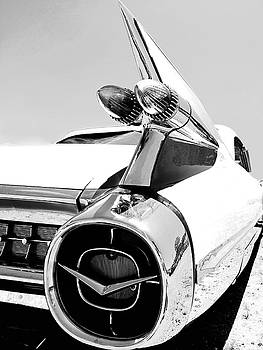 Vintage Cadillac Tail Lights and Fin in Black and White by Kelly Hazel