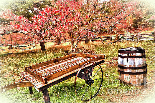 Dan Carmichael - Vintage Cart and Rain Barrel in Autumn AP