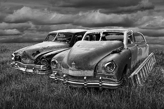 Randall Nyhof - Vintage Frazer Auto Wrecks in black and white