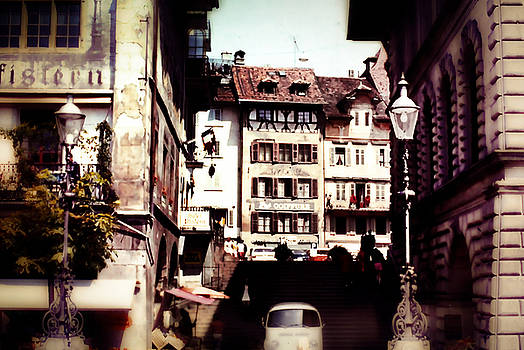 Cindy Boyd - Vintage Old City With lamp Posts