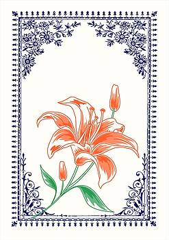 Vintage Orange Flower 4 with Blue Border by Jannina Ortiz
