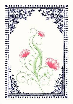 Vintage Pink Flower 2 with Blue Border by Jannina Ortiz