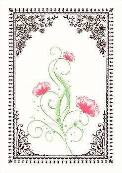 Vintage Pink Flower 2 with Brown Border by Jannina Ortiz