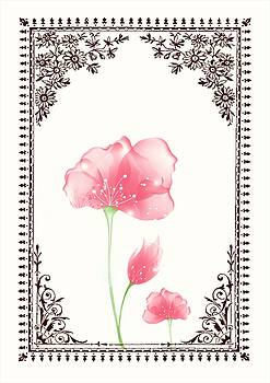 Vintage Pink Flower 3 with Brown Border by Jannina Ortiz