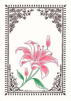 Vintage Pink Flower 4 with Brown Border by Jannina Ortiz