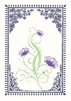 Vintage Purple Flower 2 with Blue Border by Jannina Ortiz